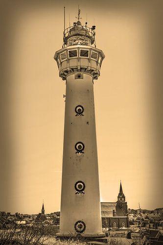 Egmond aan Zee Strand Vuurtoren Sepia