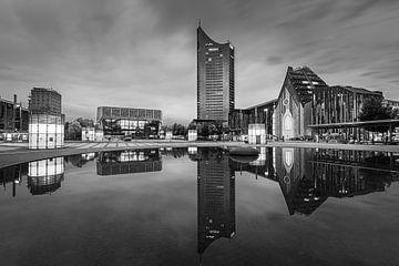 Centrum van Leipzig in zwart-wit