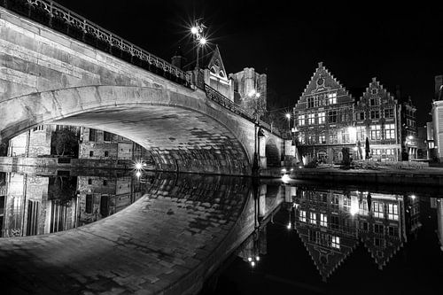Belgie - Gent bij Nacht - Sint-Michielsbrug