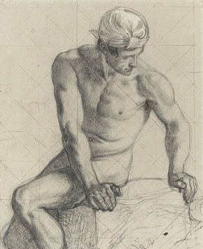 Man, naakt met tulband - 1867 - 1869 van Atelier Liesjes