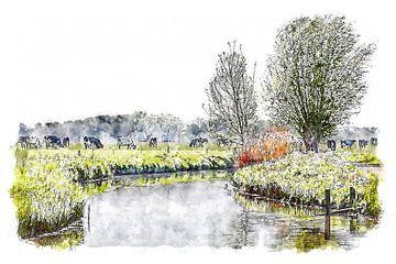 Mijn mooie Brabantse land (aquarel) van Art by Jeronimo