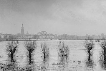 Buiten oevers getreden rivier de IJssel van Frans van der Gaag