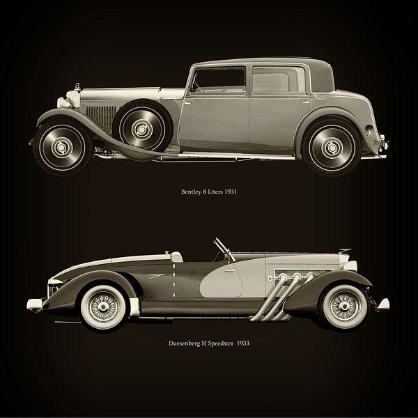 Bentley 8 Liters 1931 en Duesenberg SJ Speedster 1933 van Jan Keteleer
