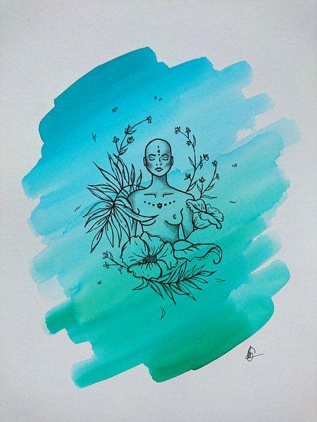 ZEN lll - Aquarell x Zeichnung von Claudia Maglio