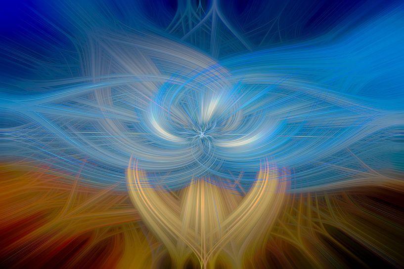 Blauw digital abstract van Leo Luijten