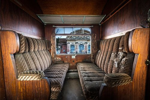 Antieke trein interieur van