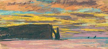 Aiguille en Porte d'Aval, Étretat, Sunset, Claude Monet.