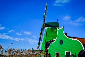 Houtzaagmolen aan de Zaanse Schans, Nederland van Rietje Bulthuis