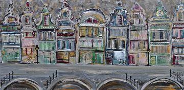 Grachtengordel warm kleurpalet van Kunstenares Mir Mirthe Kolkman van der Klip