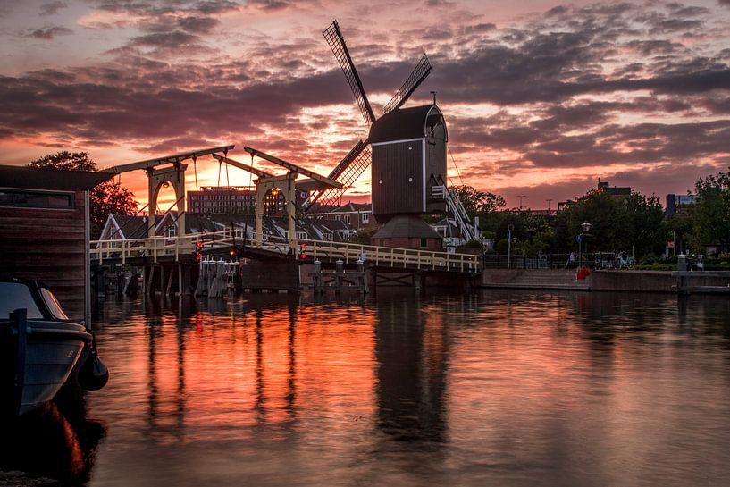 Molen de Put bij zonsondergang van Edzard Boonen