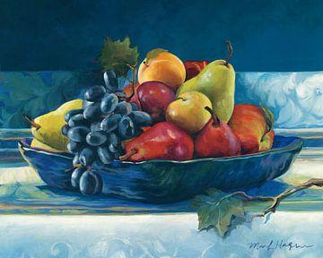 Blauwe plaat met fruit, Marilyn Hageman van Wild Apple