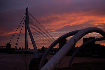erasmusbrug zonsondergang van Barry van Rijswijk