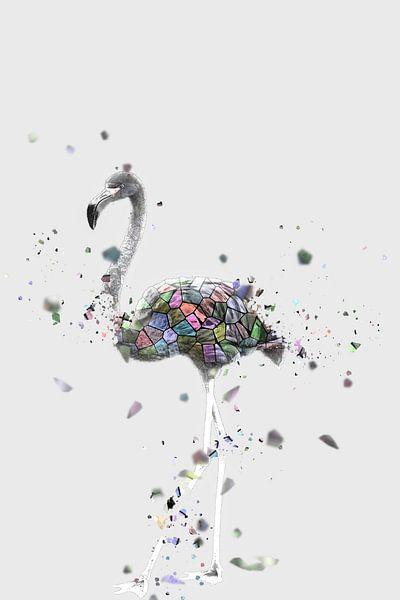 Das Mosaik des weißen Flamingos von Catherine Fortin