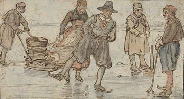 Skater und Pumpstationen auf Eis, Hendrick Avercamp, um 1615 - 1634
