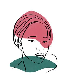 Minimalistische lijn tekening van een vrouwelijk gezicht met twee vormen van Tanja Udelhofen