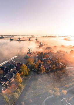De Zaanse Schans in de mist 1