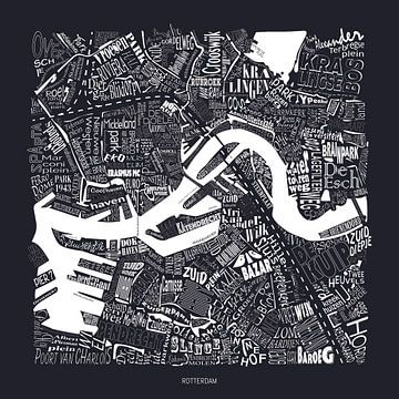 Kaart van Rotterdam als plattegrond met straatnamen van Vol van Kleur