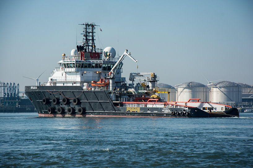 Sleepboot  in de Haven Rotterdam in het Callandkanaal. van scheepskijkerhavenfotografie