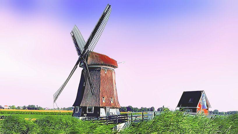 Poldermühle Obdam von Digital Art Nederland