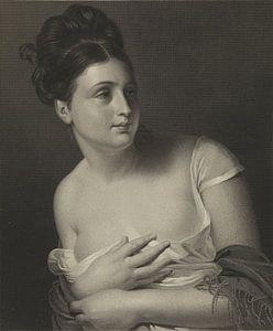 Junges Mädchen wird überrascht und bedeckt ihre Brüste, Claude-Marie Dubufe
