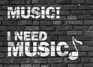 I need Music! Musiker Graffiti schwarz weiß von KalliDesignShop