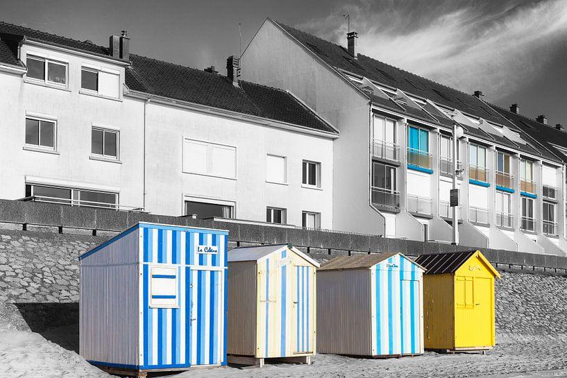 Strandhuisjes bij Fort-Mahon-Plage in Frankrijk van Evert Jan Luchies