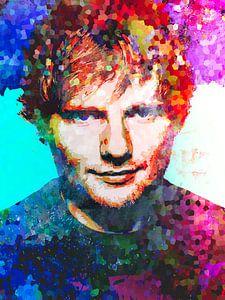 Ed Sheeran Abstraktes Pop-Art-Portrait