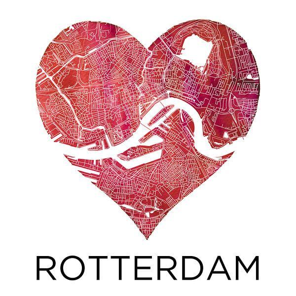 Liefde voor Rotterdam  |  Stadskaart in een hart van - Wereldkaarten.shop -