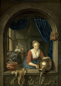 Dienstmädchen am Fenster, Gerard Dou von