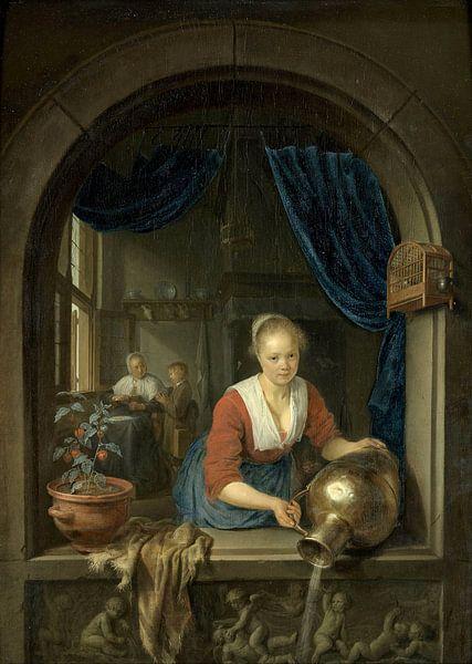 Dienstmaagd aan het venster, Gerard Dou van Meesterlijcke Meesters