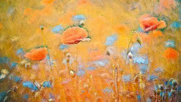 Klaprozen in een veld met korenbloemen van Francis Dost