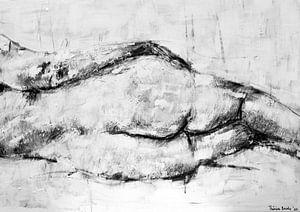 Malerei einer liegenden weiblichen Figur in Schwarz-Weiß.