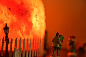 Een warm oranje gekleurde feestdagen scene van J..M de Jong-Jansen