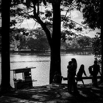Silhouette am See, Bogor, Java, Indonesien von Bertil van Beek