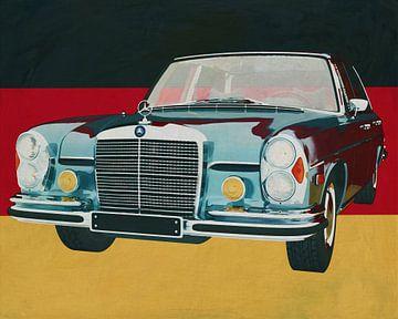 De Mercedes 300 SEL 6.3 uit 1972 voor de Duitse vlag.