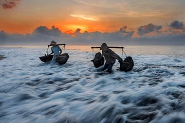 Collecting seawater, Pradeep Raja van 1x