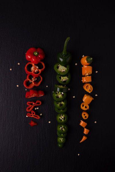 3 gekleurde pepers 2 van 2 van Anita Visschers