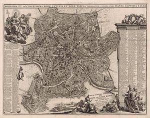 Oude kaart van Rome van omstreeks 1695