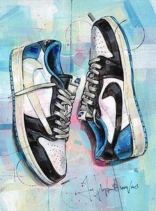 Nike air Jordan 1 Low Travis Scott x Fragment schilderij van Jos Hoppenbrouwers