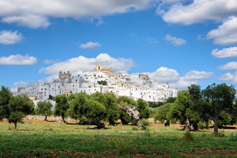 Weiße Stadt Ostuni mit Olivenbäumen in Apulien  von iPics Photography