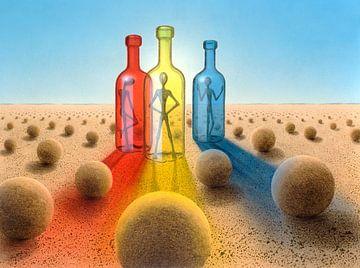 Drie flessen van Achim Prill