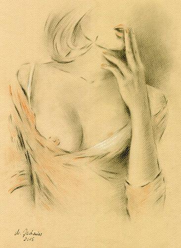 Sensuele lippen - vrouw in lingerie van Marita Zacharias