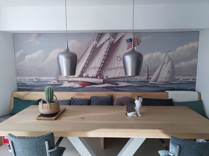 Klantfoto: Statue of Liberty Sailing van Nicholas Berger, op print op doek