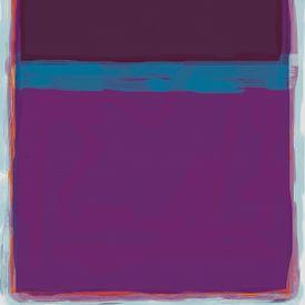 Abstract schilderij met paars en blauw van Rietje Bulthuis