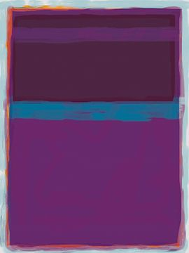 Peinture abstraite de pourpre et bleu sur Rietje Bulthuis