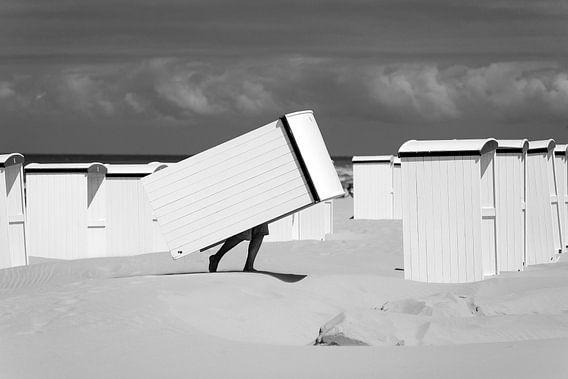 Strandcabines bij Katwijk aan Zee