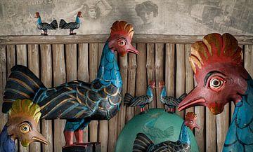 Kippen met vrije uitloop zijn altijd blij... van Erich Krätschmer