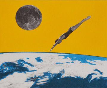 The space dive, 2016, (screen print) van Anne Storno