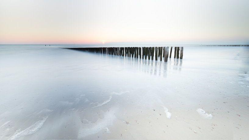 Paalhoofd bij zonsondergang van Vandain Fotografie
