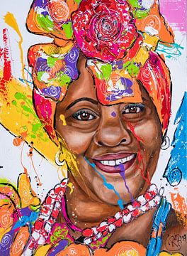 Kleurrijke dame van Happy Paintings